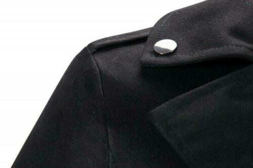 Mens Mid Long Suede Velvet Jacket Windbreaker Double Breasted Trench Coat Belted