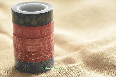 XMAS Washi Tape Latern Lamp Merry Christmas Snowflake Flower Home 15mmx10M - Christmas Tape