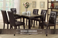 BRAND NEW!! FAUX MARBLE MAHOGANY 5 Pc DINING SET
