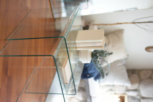 Glass coffee table and two matching nesting tables
