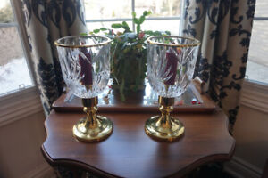 BRASS CRYSTAL HURRICANE  CANDLE HOLDERS
