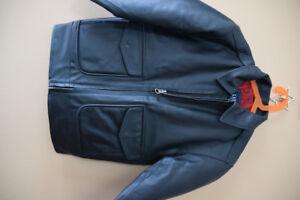 Boys black Leather jacket - size 5-6