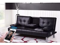 Sofa Bed sofabed leather with blue tooth aux speakers built in