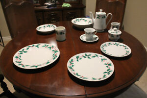 Two  8 Place setting Christmas Dinner Services for sale.