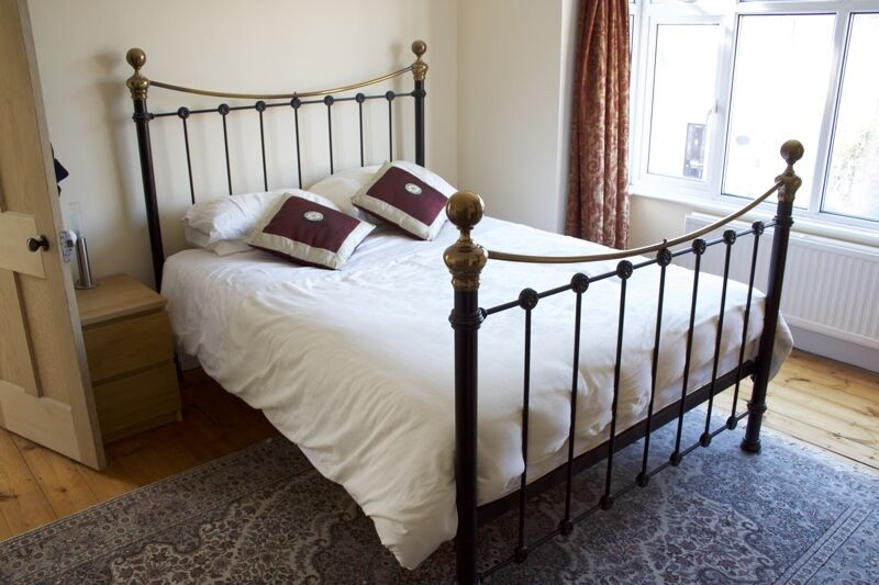 King Size Metal Bed Frame In Satin Black And Antique Gold In
