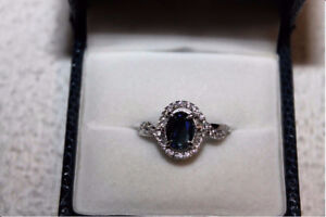Ladies Genuine Blue and White Sapphire Ring Size 8