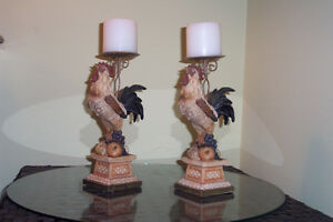CANDLEHOLDERS, ROOSTER ART