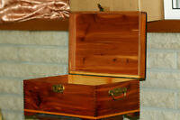 Antique Red Cedar Wood Box Small Chest- Home Accent Decor