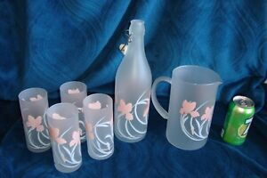 Glass Lily Pitchers and glasses