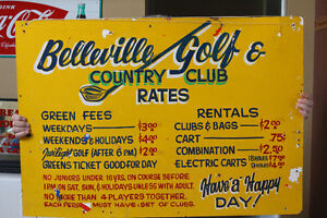"1960""s Vintage Belleville Golf & Country Club Sign NEW PRICE"