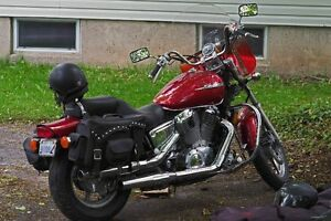 2001 Honda Shadow Spirit with helmets and cover