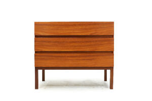 Mid Century Teak Three Drawer Bedside Dresser by REFF