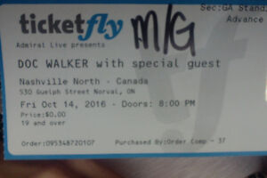 Doc Walker Concert & Meet and Greet Tickets (4) Stratford Kitchener Area image 1
