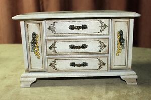 Wooden Jewelry Box 3 Drawers Plus 2 Pull Down Ring Drawers