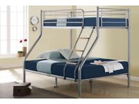 🛑⭕ BRAND NEW🛑TRIO METAL BUNK BED FRAME SINGLE DOUBLE CHILDREN SLEEPER BUNKBED WITH MATTRESS OPTION