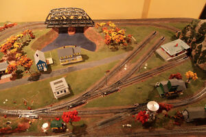 "HO Scale 4""x8"" Train Table.  Two lines plus rail yard."