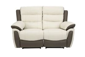 SCS Fiesta 2 Seater (2 off) Manual Recliners Leather Cream and Beige