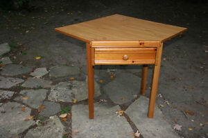 Corner Table. Sturdy wooden legs. Compartment.