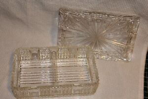 GLASS DISH WITH SECTION W/LID