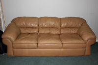 Leather Couch and Loveseat, Tan