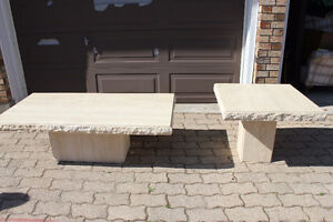 Matching stone coffee table and end table