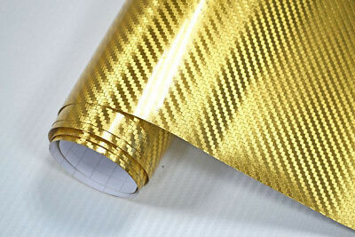 11€/m² Premium Chrom Carbon Folie 3D CARBON CHROM GOLD 200 x 152 cm Autofolie