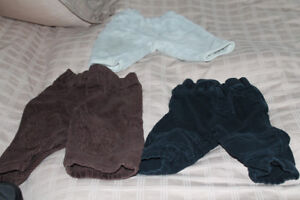 3 Warm baby boy pants (5$ for all)  and 2 overalls (5$ each)