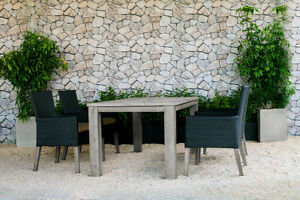 Champagne Weathered Teak Outdoor Dining Table Set with Chairs!