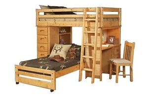 Loft Style Bunk Bed with Bunk of Drawers, Shelving & Desk