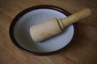 """Large Ceramic Mortar 9"""" and Wooden Pestle"""