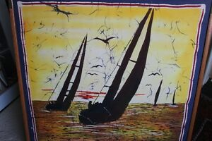 Framed Batik Scarf Depicting Sailboats & Sunset from Barbados