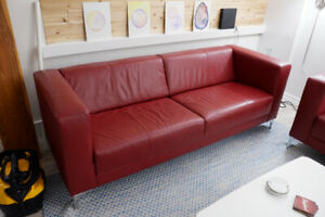 EQ3 Stella Leather Sofa Carnival Red - Excellent Condition