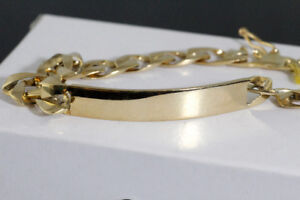 BRAND NEW SOLID STAMPED 10K. YELLOW GOLD MAN'S ID BRACELET SALE.