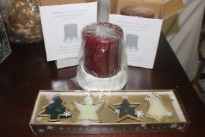 2 Silverplate Candle Holders with Candles & Xmas Candles