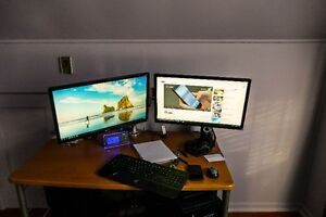 Two Acer 23.6 Monitors with Artictulating Arm