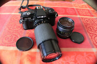 Minolta X-7A 35mm film Camera with Lens and Filters