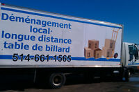 demenagement, livraison, piano, table de billard 514-661-1565