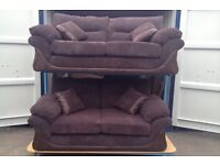 DFS Brown cord and brown faux leather 3 & 2 seater sofa (New ex display)
