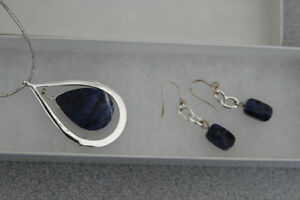 Silver and lapis pendant and earring set