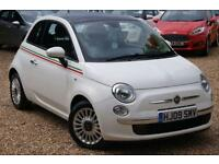 2009 09 FIAT 500 1.2 LOUNGE 3D 69 BHP, FFSH, 2 LADY OWNERS, £30 TAX, BLUETOOTH