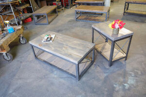 2 inch Slab and Steel Coffee table w/ Pull out Crate Shelf London Ontario image 2