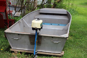 for Sale: 9-1/2 foot aluminum boat & 1.2 HP outboard motor