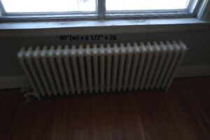 Vintage Cast Iron Hot Water Radiators - 9 of Various Sizes