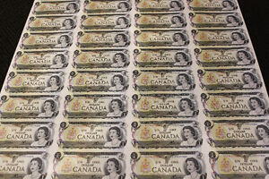 UNCUT SHEET OF 40 $1 CDN DOLLAR BILLS