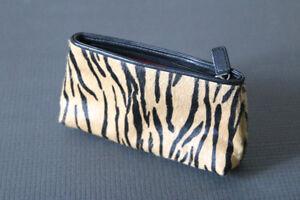 Animal-Print Leather Clutch Purse