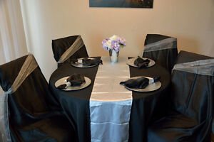 Black and Silver Elegant 25th anniv or Wedding head table for 12