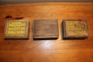 3 Old Small Slide Top Wooden Boxes - Goodyear
