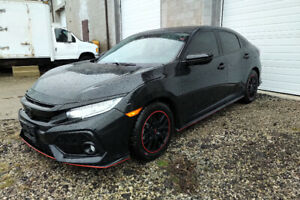 2018 HONDA CIVIC SPORT TOURING TURBO BLACK, COSMETIC DAMAGED