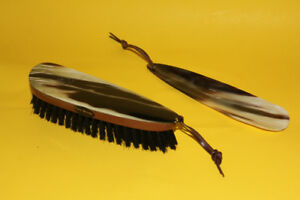 Stag horn clothes brush and shoehorn set
