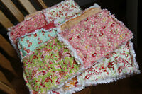Girls Crib/Toddler or Lap Size Rag Quilt - Handmade